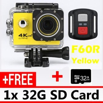Harga 32G SD Card and Good Quality 2.4G Remote Control Action Camcorder 4K Sport Camera Extreme Sports DV F60R WIFI Outdoor Waterproof Cameras - Yellow - intl