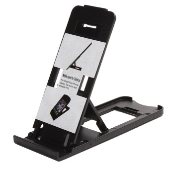 Harga thinch Portable 5-Angle Adjustable Foldable Universal Table Stand Holder Support for iPhone iPad Samsung Galaxy Tablet PC Cell Phone (Black)