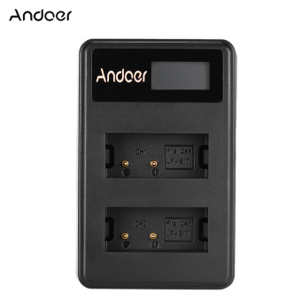 Harga Andoer Mini Portable Dual Slot LCD Screen USB charger for Canon LP-E17 DSLR - intl