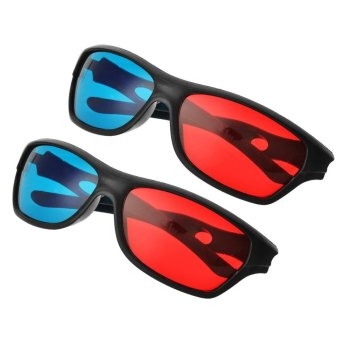 JEDX Universal 3D Plastic Frame Glasses - Black + Red + Blue (2 Pairs) - intl - 5