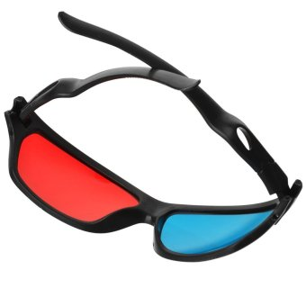 JEDX Universal 3D Plastic Frame Glasses - Black + Red + Blue (2 Pairs) - intl - 4