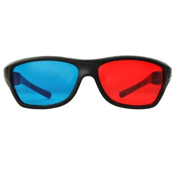 JEDX Universal 3D Plastic Frame Glasses - Black + Red + Blue (2 Pairs) - intl - 3