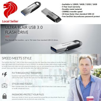 Harga SanDisk 128GB Ultra Flair USB 3.0 Flash Drive, 150MB/s