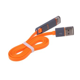 Harga VAKIND 2-in-1 USB Data Charger Cable for iPhone (Orange)(Export)