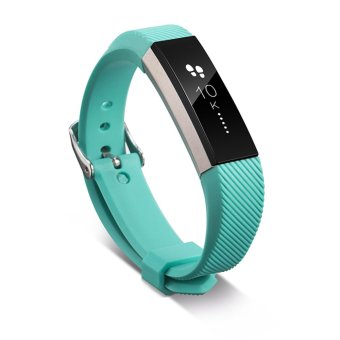 Luxury Silicone Replacement Wrist Watch Band Buckle for Fitbit Alta Twill S (Sky Blue) - 4