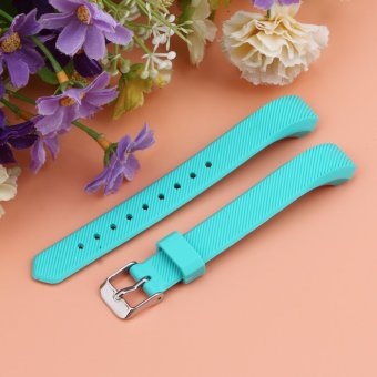 Luxury Silicone Replacement Wrist Watch Band Buckle for Fitbit Alta Twill S (Sky Blue) - 2