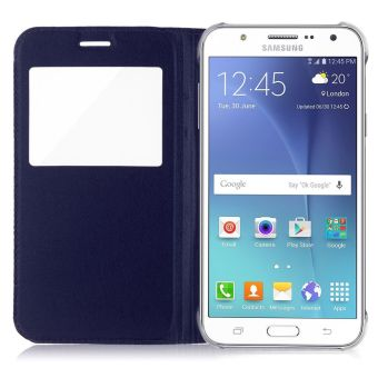 Luxury Flip Folio Leather Window View Holster Cover for Samsung Galaxy J5 (Blue) - 5