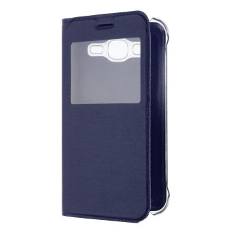 Luxury Flip Folio Leather Window View Holster Cover for Samsung Galaxy J5 (Blue) - 2
