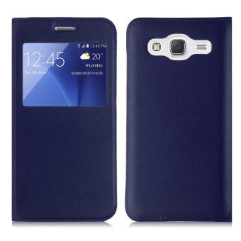 Luxury Flip Folio Leather Window View Holster Cover for Samsung Galaxy J5 (Blue) - 4