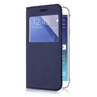 Luxury Flip Folio Leather Window View Holster Cover for Samsung Galaxy J5 (Blue) - 3