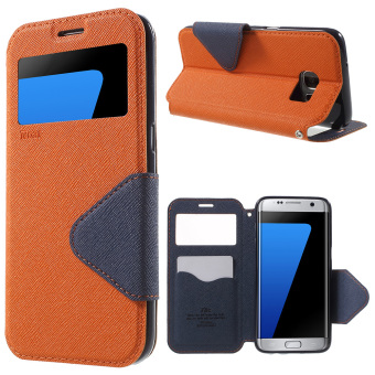Harga ROAR KOREA Diary View Leather Case for Samsung Galaxy S7 edge G935 - Orange - intl
