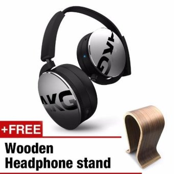 AKG Y50BT On-Ear Bluetooth Headphones With Remote and Mic (SILVER) + FREE Wooden Headphone Stand(Walnut)