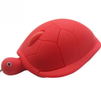 USB 2.0 1200dpi 3D Wired Optical Cute Turtle Mice Mouse For PC Laptop(Red)