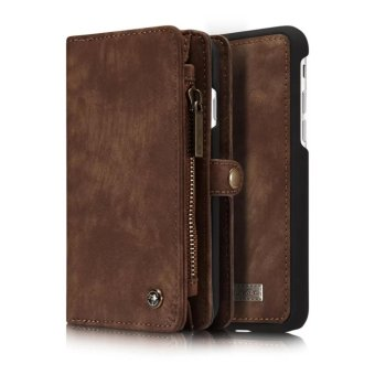 Harga iPhone 7 plus case,Welink 2017 New 2 in 1 Detachable Assembled Wallet Flip Style Retro Leather Card Photo Slot Holder Protective Cover Case for Apple iPhone 7 Plus [Model:08](Brown) - intl