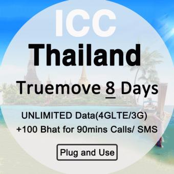 Harga Thailand Tourist Sim Card - 8 Days Truemove Unlimited data sim + Call