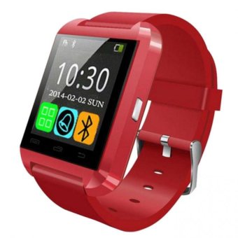 Harga UWatch Smart Watch Bluetooth Smartwatch with Sport Sleep Tracker For iPhone Samsung HTC LG Sony Huawei Android Phones (Red)