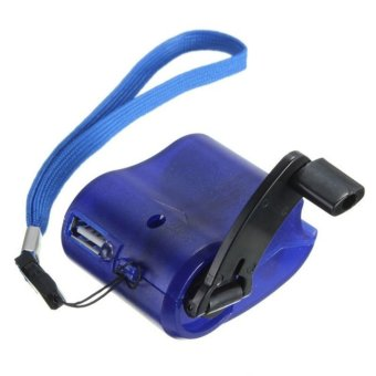 Harga Cell Phone Emergency Charger USB Crank Hand Manual Dynamo For MP4 Mobile PDA Blue - intl