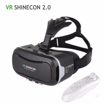 Harga All 3D VR BOX II VR Shinecon 2.0 Virtual Reality Glasses VR CASE Headset for 4.7~6.0 inch Smartphones with Gamepad Buletooth Remote(Black)