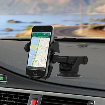 TIEMOTU ZJX802 360 Degree Car Mount Mobile Mount Air-conditioning Vent Mount Mobile Phone Mount Holder Cradle with Transparent Sucker Suitable for 3.5 to 6.3 Inch Screen Mobile Phone or Navigation Equipment/Smartphone GPS Black - intl - 3