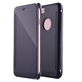 Harga Protective PC Plating Mirror View Flip Case Smart Cover Skin for Apple iPhone 7 4.7inch Black