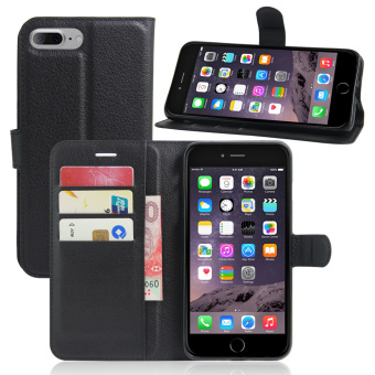 Harga PU Leather Case Flip Stand Cover For Apple iPhone 7 Plus (Black)