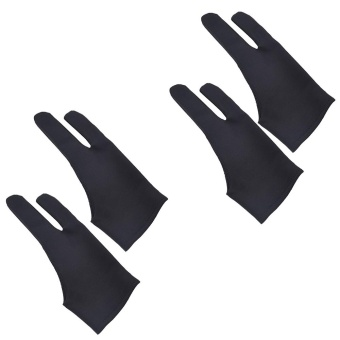 Harga 2Pcs Professional 2-fingers Tablet Drawing Gloves Anti-fouling Soft Breathable Double-side Use Artist Mittens for Graphic Tablet Art Creation Pen Display iPad Pro Pencil Black - intl