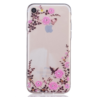 Harga Relief Print TPU Protective Back Case Cover For Apple iPhone 7 ( Butterfly and Flower)