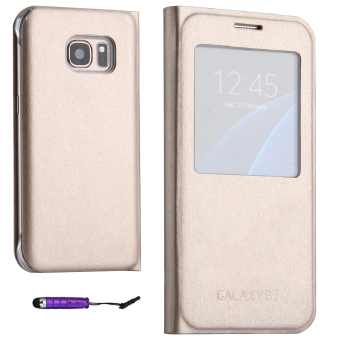 Harga PU Leather Flip Case Cover for Samsung Galaxy S7 Edge (Gold)