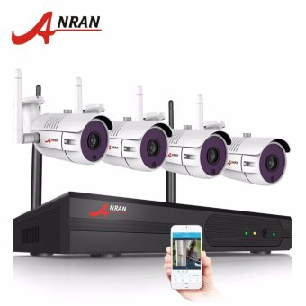 Harga ANRAN 4CH Wireless NVR Security CCTV System P2P 1080P HD Outdoor Vandalproof WFI IP Camera - intl