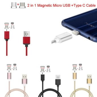 Harga Type-C+Micro USB Magnetic Adapter Braided Data Charging Cable For Android Phone(Black) - intl