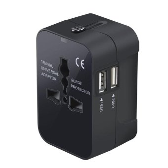 Harga Travel Power Adapter, Worldwide All in One Universal Power Converters Wall AC Power Plug Adapter Power Plug Wall Charger with Dual USB Charging Ports for USA EU UK AUS Cell phone laptop - Black(Black)