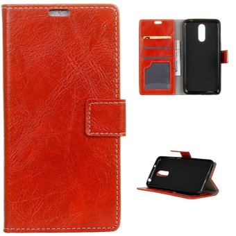 Harga PU Leather Wallet Case Magnetic Flip Stand Cover for ZTE Axon 7 - Red - intl