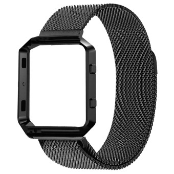 Harga Magnet Lock Milanese loop Stainless Steel Adjustable Replacement Watchband Band Watch Bracelet Strap + Frame Housing for Fitbit Blaze Smart Fitness Watch Black