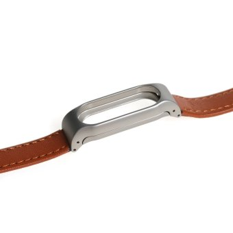Leather watch band wrist strap for xiaomi mi band 2 smart bracelet in Brown - 2