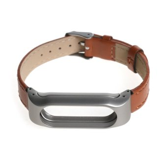 Leather watch band wrist strap for xiaomi mi band 2 smart bracelet in Brown - 3