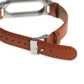 Leather watch band wrist strap for xiaomi mi band 2 smart bracelet in Brown - 4