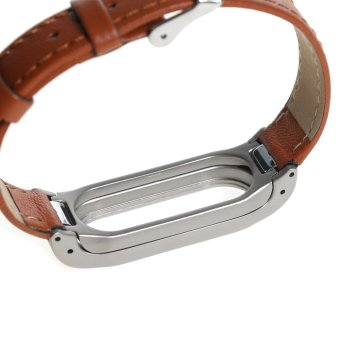 Leather watch band wrist strap for xiaomi mi band 2 smart bracelet in Brown - 5
