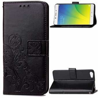 Harga Moonmini Case for Oppo R9s Plus Case Wallet Stand Leather Case Flip Cover - Black - intl