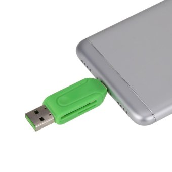 2 in 1 Universal Micro USB OTG TF/SD Card Reader (Green) - intl - 2