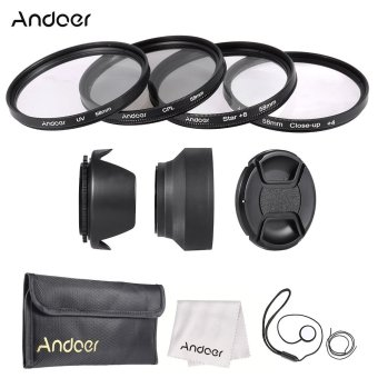 Harga Andoer 58mm Lens Filter Kit (UV CPL Star? Close-up? ) with Lens Cap Lens Cap Holder Tulip & Rubber Lens Hoods Cleaning Cloth (EXPORT)