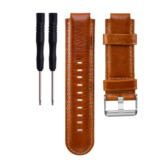 Harga Leather Wrist Watchband Strap for Garmin vivoactive Approach S2 Approach S4 GPS Watch in ight Brown - intl