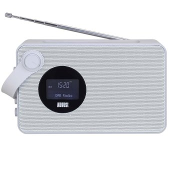 August MB415 - Portable DAB Clock Radio with NFC Bluetooth Speaker - DAB/DAB+/ FM Radio Tuner - USB and SD Card Reader - (White) - Intl