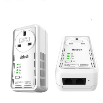 Harga Aztech HL129EP SmartLink AV2 1200Mbps Ethernet Adapter with Pass Through Twin Pack Bundle