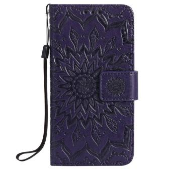 Harga Flip PU leather case for Samsung galaxy S7 edge Sun Flower Embossed with card slot wallet holder stand - intl