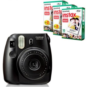 Fujifilm Instax Mini 8 Instant Camera (Black) + Fuji White Edge Instant 50 Film