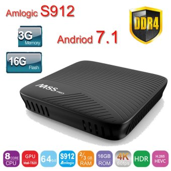 Harga Andriod 7.1 Amlogic S912 mecool M8S Pro android TV Box 3G 16GB DDR4 2.4G/5G WiFi BT4.1 OTA M8S pro media player - intl