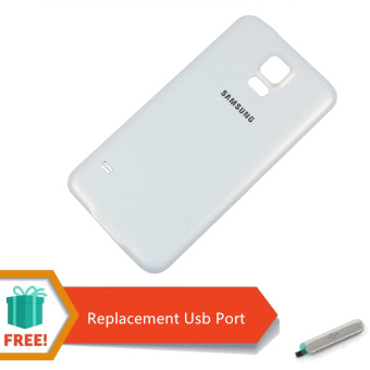 Harga Replacement White Battery Door Back Cover with Rubber Seal Waterproof Gasket For Samsung Galaxy S5 (White) Free Replacement USB Prot