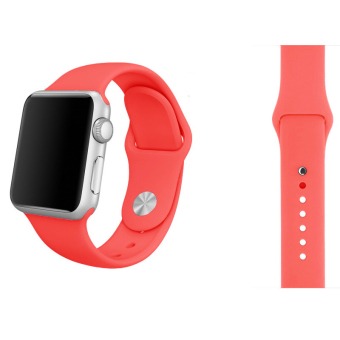 Harga Soft Silicone Watch Band Strap With Connector Adapter For Apple Watch iWatch 38mm (Hotpink)