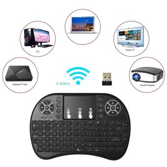 Harga Backlit 2.4GHz Wireless Keyboard Air Mouse Touchpad Handheld Remote Control Backlight for Android TV BOX PC Smart TV Black - intl