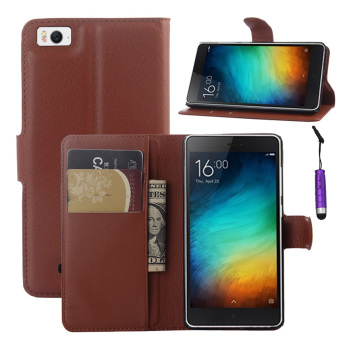 Harga Moonmini Flip Stand Leather Case Wallet Card Slots Cover with Magnetic Closure for Xiaomi Mi 4C / Mi 4I (Brown)